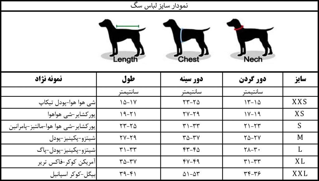 نمودار سایز لباس سگ